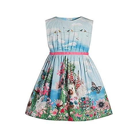 BOBORA Girl Dress Rabit Flower Betterfly Print Dress Kids Sleeveless Dress Size 2-7 Years