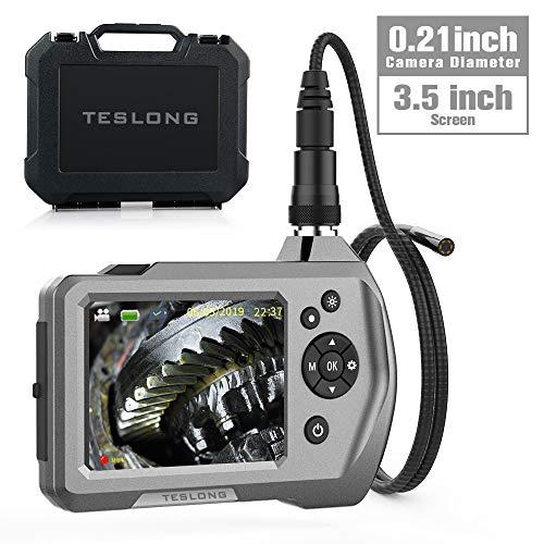 Teslong Endoskopkamera, Hand Industrie-Endoskop-Inspektionskamera mit 3,5-Zoll-LCD-Bildschirm 5,5 mm Durchmesser Flexible Sonde wasserdichte Kamera(1M)