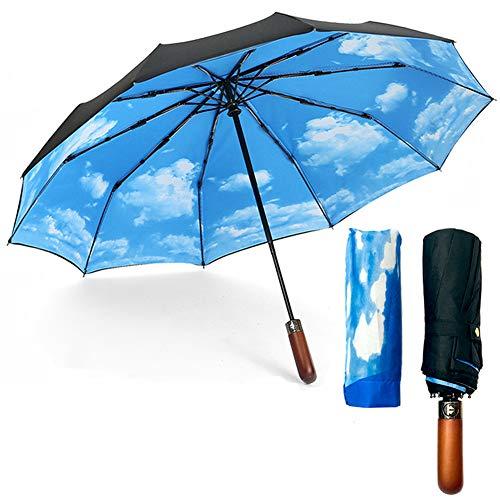 Tenleaf ombrelli pieghevoli automatici, ombrello da viaggio antivento asciugatura rapida con impugnatura in vero legno, extra large 40 pollici - doppio strato blu cielo nero