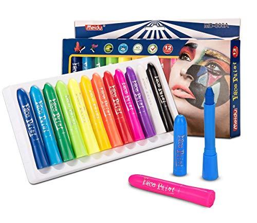 EN-71 Certified 12 Cols Face Crayones, Kits de Pintura para la Cara, Pintura...