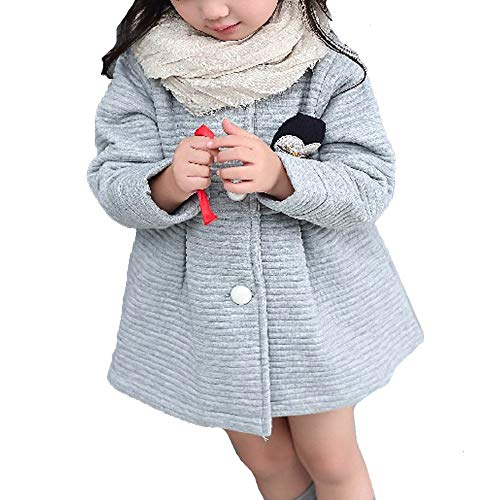 Kinderkleid Honestyi Herbst Winter Kinder Mädchen Bogen Jacken Baby Einreiher Kind Mantel Jacken (灰色 Grau,90)