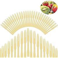 EMAGEREN 400PCS Tenedores Desechables Tenedores de Bambú Tenedores de Frutas 4 Paquete de Tenedores Desechables Tenedores Pequeños Ideal para Fiesta, Reunión, Hogar, Oficina, Escuela