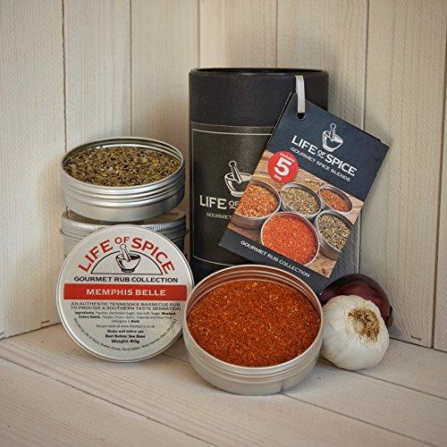 Life of Spice Gourmet Rub Gift Collection - Confezione Regalo di 5 Rub Life of Spice (40 g/30 g l'uno)