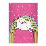 Kartenkaufrausch 2 Super süße Einhorn DIN A5 Schulhefte, Rechenhefte mit Regenbogen und Sternen in rosa Lineatur 7 (kariertes Heft)