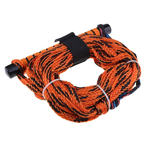 D DOLITY Wasserskileine 23 Meter 75ft Wasserski Leine Wakeboard Seil Hantel Rope - Orange Farbe