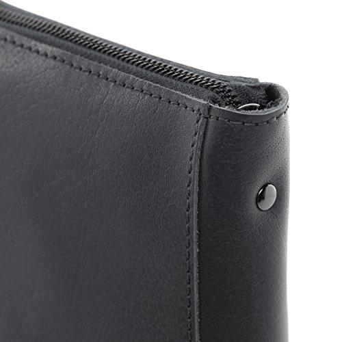 """FEYNSINN Clutch mit langem Schultergurt JEMMA - Umhängetasche fit für tablet"""", iPad - Abendtasche - echt Leder indigo anthrazit"""
