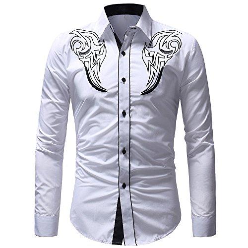 Bellelove Hemd Herren Stickerei Shirt Langarm Freizeithemd Businesshemd männer Kent-Kragen Business Casual
