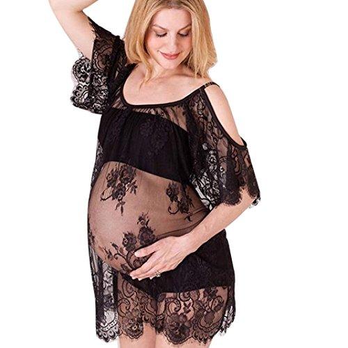 Schwangere Fotografie Stützen, Dasongff Damen Schwangerschafts Kleid Umstands-Kleid Wimpern Spitze kurze Ärmel Kleid Schwangere Frauen Foto-Shooting Kleid Mutterschaft Kleidung (M, Schwarz)
