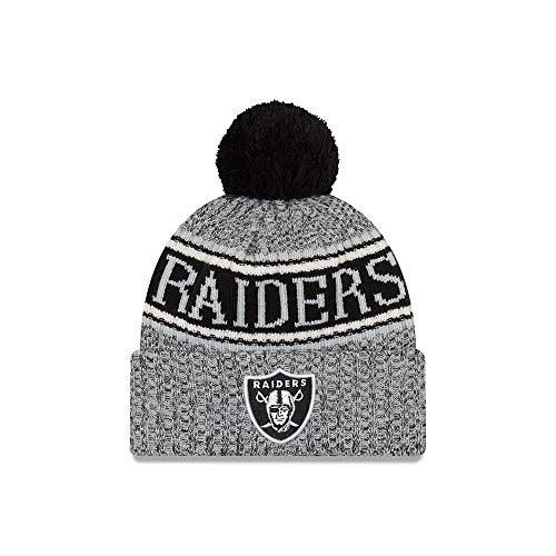 new style 7a2e9 57466 New Era Oakland Raiders Beanie NFL 2018 Sideline Sport Reverse Knit  Grey Black - One