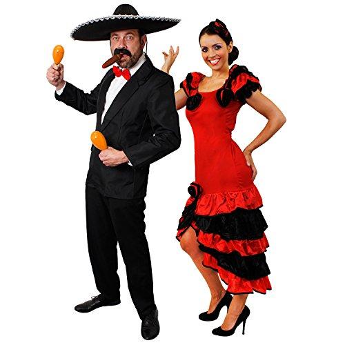 Themen Western Kostüm Country - ILOVEFANCYDRESS SPANISCHES Rumba +Salsa Paare KOSTÜM VERKLEIDUNG MIT ORANGEN RASSELN/Maracas=SCHNELLE VERKLEIDUNG AN Karneval Fasching Themen Party= Anzug-Large + Kleid-XXLarge