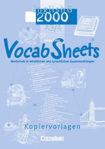 Cornelsen Verlag Band 3/4: 7./8. Schuljahr - Vocab Sheets: Kopiervorlagen