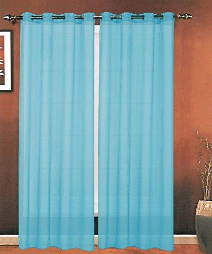 ELEGANCE Bettwäsche Luxus 2-teilig Tülle Sheer Panel/Vorhang–Gardinen 140cm Breite x 84Zoll) Länge–viele Farben erhältlich, Polyester-Mischgewebe, aqua, 55 Inches x 84 Inches (Aqua-panel)