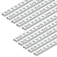 Emuca 7907912 Perfil cremallera perforación doble paso 32mm para escuadras de estante, Blanco, L 951mm, Set de 10 piezas