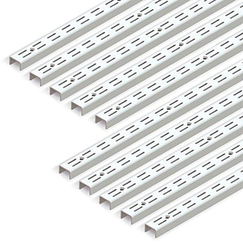 Emuca 7907912 profilo cremagliera doppia perforazione passo 32mm per supporti di mensola, bianco, l 951mm, set di 10 pezzi