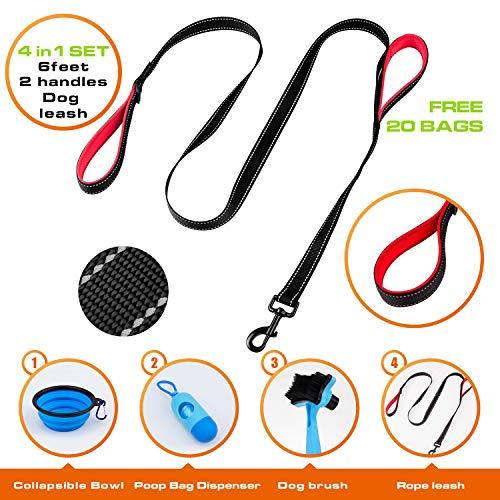 AdyK9 Hundeleine, einziehbar, 40,6 cm, verstellbare Kordel zum Laufen, Joggen, Reisen, strapazierfähig, inkl. Müllbeutelspender mit gratis Beuteln, Red Rope Kit -