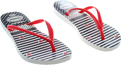 Tongs Blanches et Rouges Slim Havaianas Kids Rouge