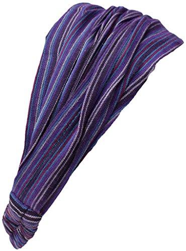 Diadema elástica de algodón para pelo, estilo bohemio, de Little Kathmandu Morado Striped Purple talla única