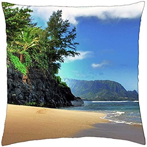 HIDEAWAYS spiaggia Princeville Kauai Hawaii paradiso isola–Throw Pillow Cover Case (18