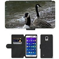 Grand Phone Cases PU Flip Carcasa Funda de Cuero Piel Cubre Case // M00140695 Branta Canadensis Canada Goose Uccello // Samsung Galaxy Note 4 IV