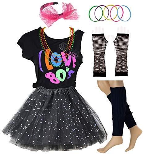 Ich Liebe 80er Jahre T-Shirt Pailletten Tutu Rock Pop Party Rockstar Kind Mädchen Kostüm Zubehör ausgefallene Outfits (7/8, Black) (Rock Stars Der 80er Jahre Kostüm)