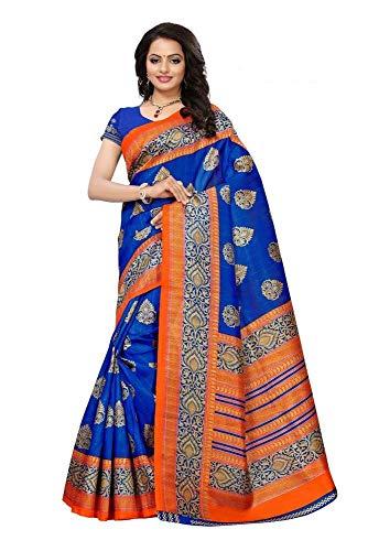 Indian Bollywood Wedding Saree indisch Ethnic Hochzeit Sari New Kleid Damen Casual Tuch Birthday Crop top mädchen Cotton Silk Women Plain Traditional Party wear Readymade Kostüm (Blue) Blue Silk Sari