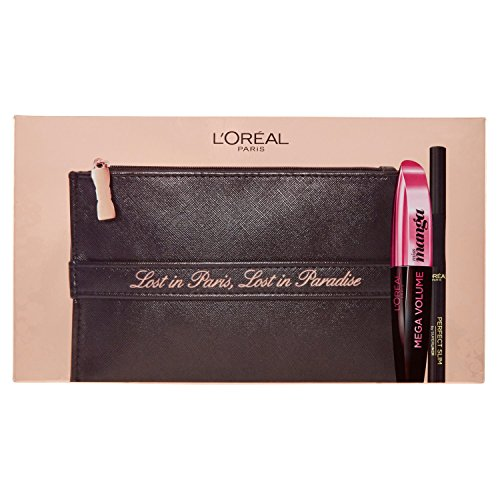 L'Oréal Paris MakeUp Cofanetto Idea Regalo Make Up Lost in Paradise, Pochette con Mascara Miss Manga e Eyeliner Perfect Slim, Nero