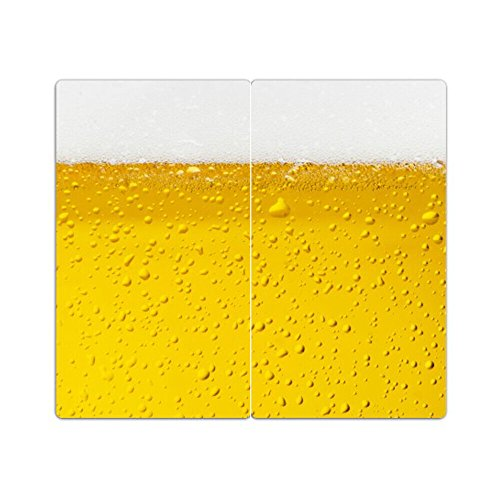 DEKOGLAS Herdabdeckplatten Set inkl. Noppen aus Glas 'Bier', Herd Ceranfeld Abdeckung, 2-teilig universal 2x 52x30 cm