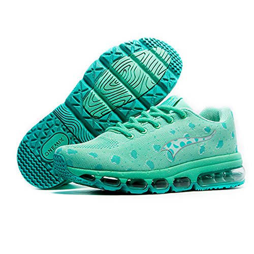 Onemix Mens And Womens Air Cushion Knit Walking Trainers Fitness Sports Running Shoes Casual Shoes green