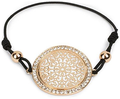 styleBREAKER Armband mit Ornament Anhänger, Strass besetzt, Schmuckperlen und Gummizug, Schmuck, Damen 05040123, Farbe:Gold