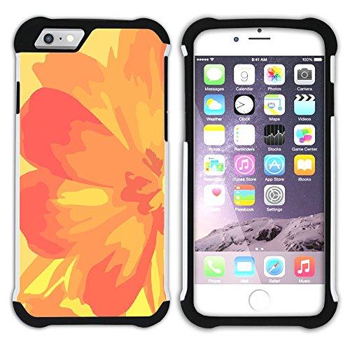 Graphic4You Blume Blumen- Muster (Schwarz) Hart + Weiche Kratzfeste Hülle Case Schale Tasche Schutzhülle für Apple iPhone 6 Plus / 6S Plus Design #14