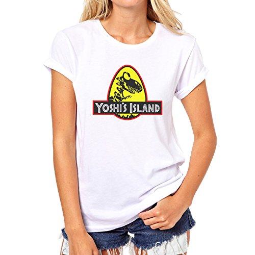 Jusrassic Park Edition Yoshi Island Dragon Black Yellow Damen T-Shirt Weiß