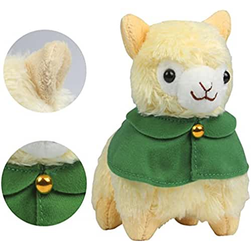 juguetes kawaii KOSBON 6 alpaca de peluche amarillo con capa, juguete de peluche suave lindo animales, mejores regalos para niños.