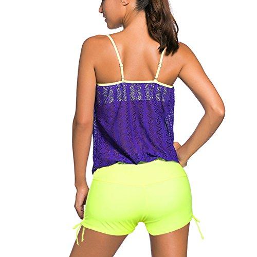 Donna Costume da Bagno Tankini da Donna Stripes Set Vita Alta 2 pezzi Swimwear Beachwear Top Sportivo 2