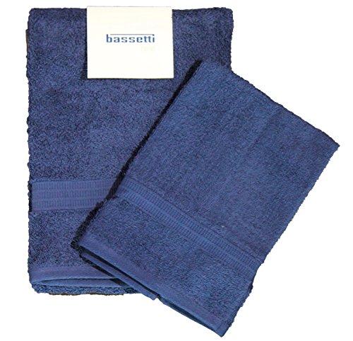 Set coppia 2 pezzi 1+1 ospite 40 x 60 + asciugamano 60 x 110 bassetti time asciugamani 100% spugna di puro cotone pettinato 430 gr/sqm (blu 1379)