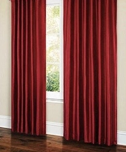 66″ x 54″ Faux Silk Readymade Pencil Pleated Curtains Lined With Matching Set of Tiebacks Burgundy / Wine
