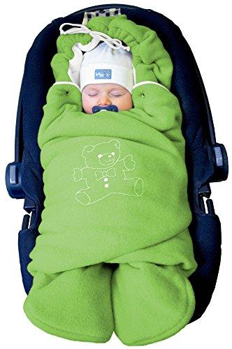 """ByBoom® - Baby Winter-Einschlagdecke\""""Das Original mit dem Bären\"""", Universal für Babyschale, Autositz, z.B. für Maxi-Cosi, Römer, für Kinderwagen, Buggy oder Babybett, Farbe:Grün/Weiß"""