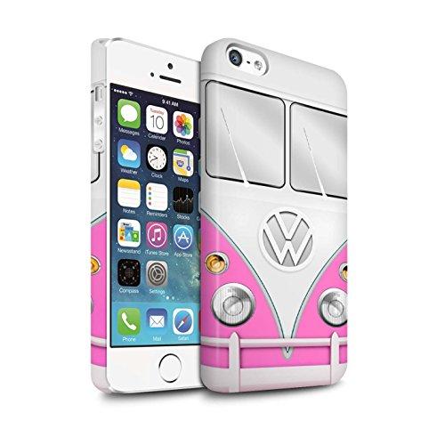 STUFF4 Matte Snap-On Hülle / Case für Apple iPhone SE / Blau Muster / VW Campingbus Kollektion Rosa