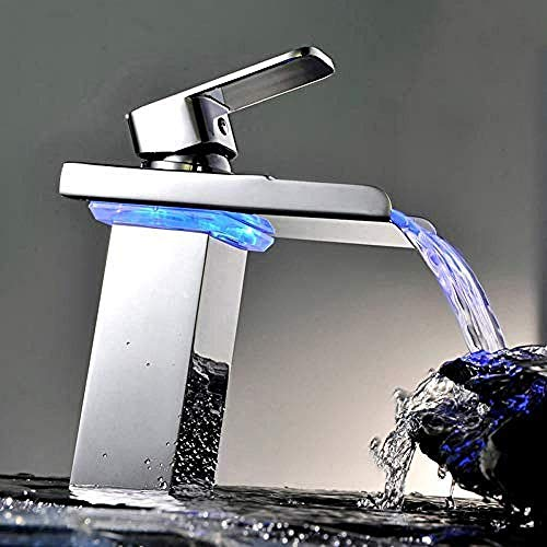 Bad Wasserhahn mit LED-Licht Chrom poliert LED-Hahn Waschbecken Wasserhahn Bad Waschbecken montiert Waschbecken Wasserhahn Wasserhahn LED wird sich ändern