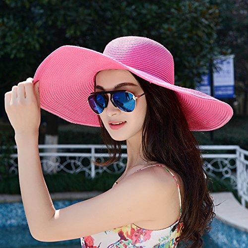 Zhangyong*la sig.ra estate cappello di paglia beach il cappuccio di tenuta può essere piegato cappello di paglia ombrellone filtro solare uv grande tappo , lungo sia il codice , il rosso