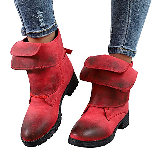 Stiefel Damen Halbschaft Warm Mittlere Flache Wasserdichte Stiefel Klassische Outdoor Boots Schuhe Elegant Lederstiefel Frauen Ankle Booties Leder Ritter Martin Stiefel Cowboy Schuhe ABsoar