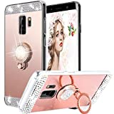 Galaxy S9 Hülle, WATACHE Luxus Glitter Shiny Bling Niedlich Diamond Mirror Make-up Fall für Mädchen mit Fingerring Kickstand Flexible TPU Schutzhülle für Samsung Galaxy S9(Roségold)