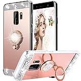 Galaxy S9 Hülle, WATACHE Luxus Glitter Shiny Bling Niedlich Diamond Mirror Make-up Fall für Mädchen mit Fingerring Kickstand Flexible TPU Schutzhülle für Samsung Galaxy S9(Roségold)