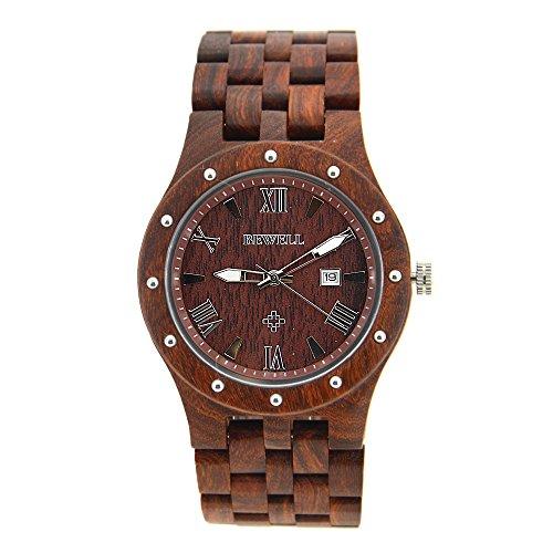 Bewell ZS legno orologio per uomini analogico data cinturino in movimento al quarzo orologi in legno rosso