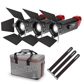 Aputure LS-mini20 TLCI/CRI 96+ LED Videoleuchte Set(2*LS-mini20d & LS-mini20c) Leistungsstarke Beleuchtungshelligkeit und Abstrahlwinkeleinstellung