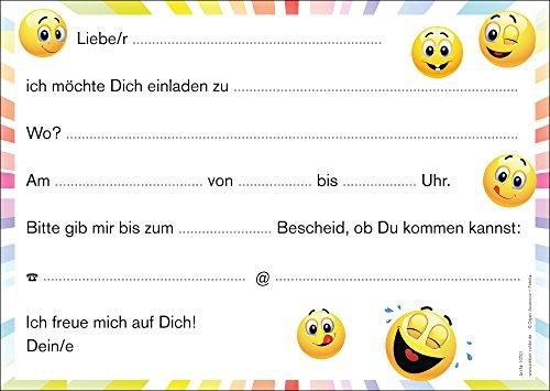 """""""LET´s HAVE a PARTY"""": 10-er-Set lustige Smiley- / Emoji-Einladungskarten (10701) zum Kindergeburtstag von EDITION COLIBRI © – umweltfreundlich, da klimaneutral gedruckt - 2"""