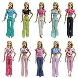 ZITA ELEMENT 10 Stück Mode Kleider Oberteil Hosen Handgefertigte Puppenkleidung für Barbie Puppe Freizeitkleidung Puppen Outfits Zubehör Mädchen Spielzeug T-Shirt Bluse Kostüm