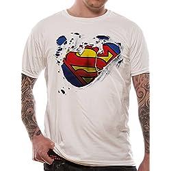 Superman Torn Logo, Camiseta para Hombre, Blanco, Large