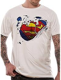 T-shirt blanc logo américain Superman Torn Logo officiel de DC Comics pour homme | Tailles S-XXL