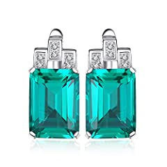 Idea Regalo - JewelryPalace Lusso 7.6ct Verde Artificiale Nano Russo Smeraldo Hoop Orecchini 925 Argento Sterling
