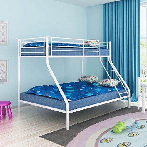 Tidyard- Kinder Etagenbett | Doppelstockbett | Metall Bettrahmen | Kinderbett | Metallbett mit 2 Betten | 200x140/200x90 cm Metall Weiß